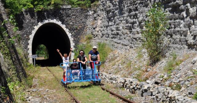 Rail bike in South of Ardèche