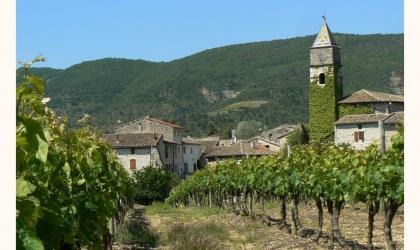©OTISARV - Vue sur le village de Valvignères et son Caveau des vignerons