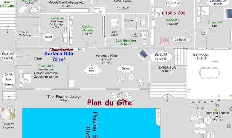 Clévacances - Plan du Gîte Piscine avec 3 marches,10 x 5 mètres