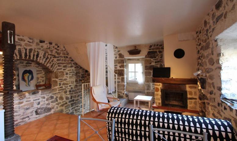 Gîtes de France - Salon avec Tv et cheminée