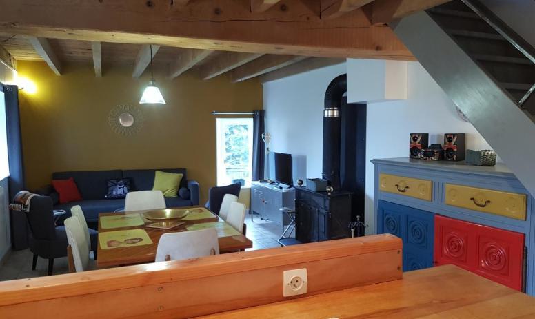 Gîtes de France - Cuisine ouverte sur salon avec TV, DVD, WIFI, mini-chaine