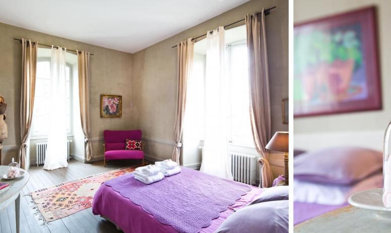 """Gîtes de France - Au Château d'Uzer, la suite familiale """"Zéphir"""", belle et grande suite de deux chambres (45m2) avec fenêtres sur le parc et la bambouseraie."""