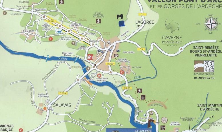 Gîtes de France - la carte de Vallon Pont d'Arc
