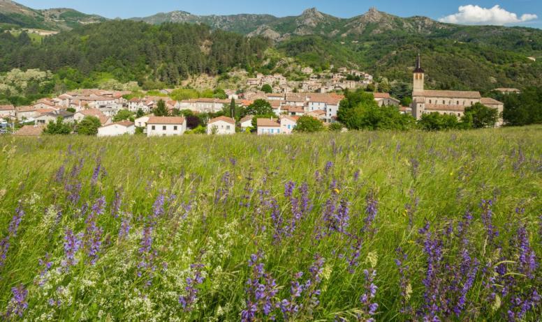 ©S.BUGNON - Jaujac - Le village vu de Rochemure