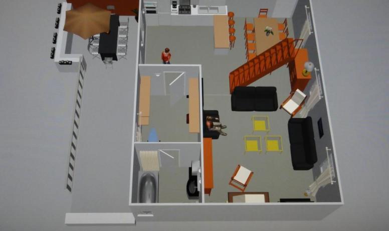 Gîtes de France - Vue 3D de niveau 1 et la terrasse