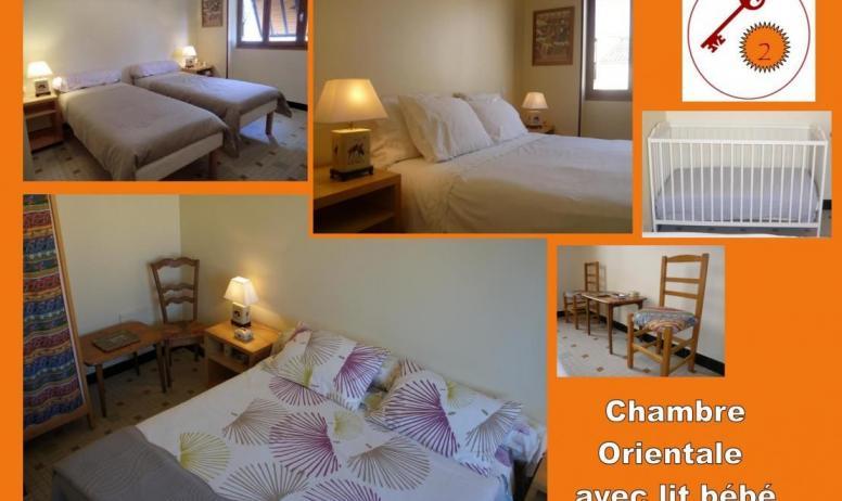 Gîtes de France - 2nd: chambre 2/ Orientale. 2 lits modulables en un grand lit double (160x200 cm) ou 2 lits individuels (80x200 cm). Possibilité d'un couchage individuel supplémentaire ou lit bébé