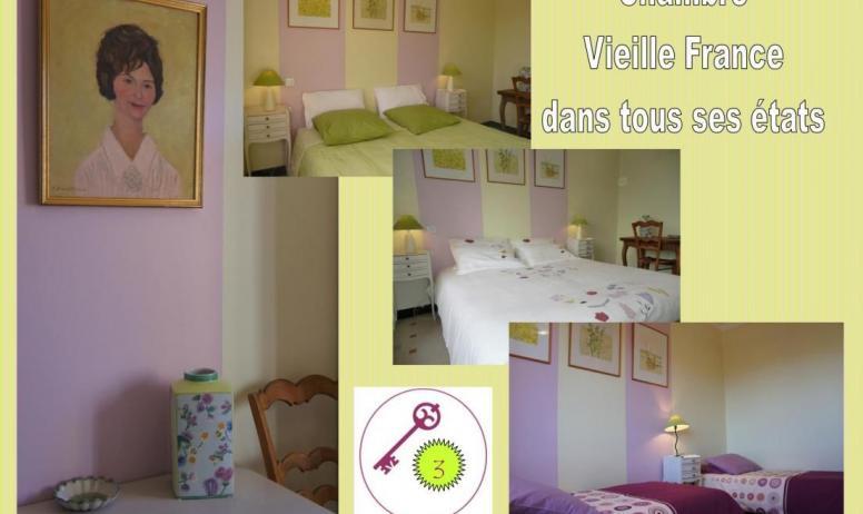 Gîtes de France - 2nd: chambre 3/ Vieille France. 2 lits modulables en un très grand lit double (180x190 cm) ou 2 lits individuels (90x190 cm).