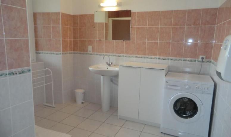 Gîtes de France - salle de bain équipée d'une machine à laver et d' un tapis de bain